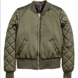 H&M woman's olive green satin bomber jacket medium